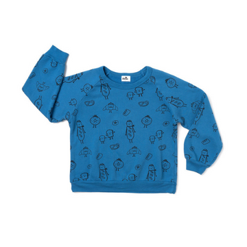 kira kids bread print raglan sweatshirt organic cotton blue