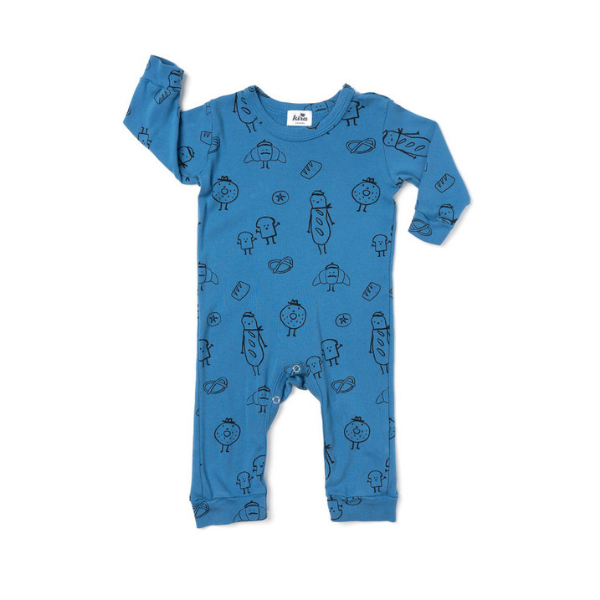 kira kids long sleeve romper in bread print for babies blue