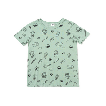 kira kids sushi print t-shirt short sleeve for toddlers in green