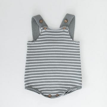 knit bubble romper, grey and oatmeal