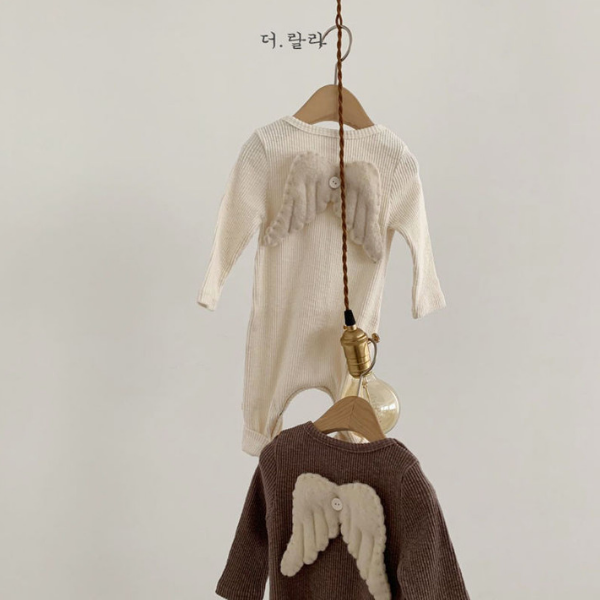 lala angel suit with detachable wings in mocha and ivory