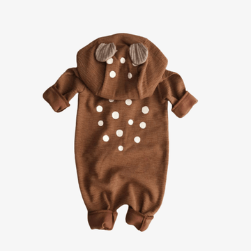 lala bambi hooded romper in brown