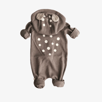 lala bambi hooded romper in grey