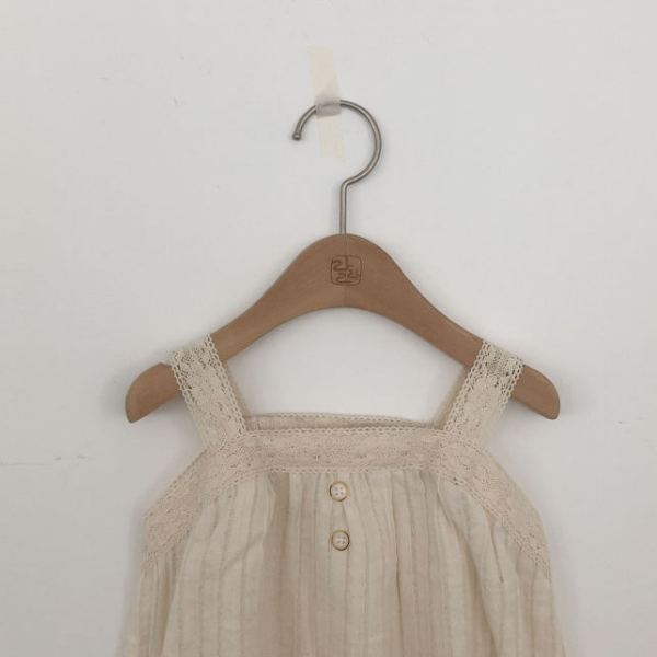 lala bell romper in ivory with lace detail for baby girl