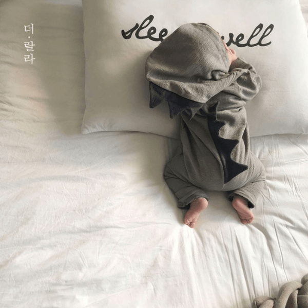lala hooded tyranno romper in grey