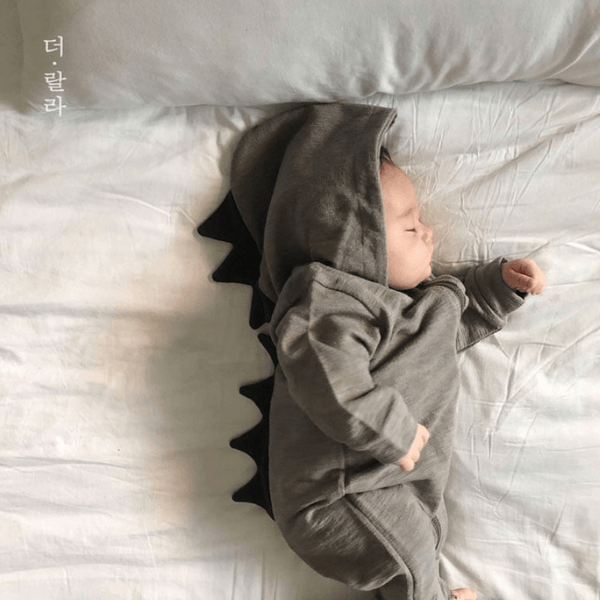 lala hooded tyranno romper in grey cotton