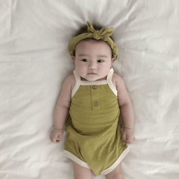 retro romper in olive