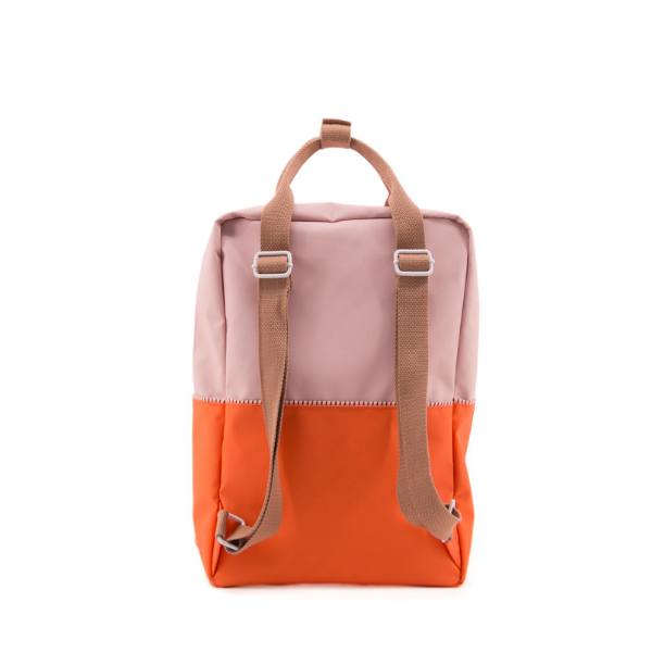 large color block backpack/diaper bag in pink (recycled material)