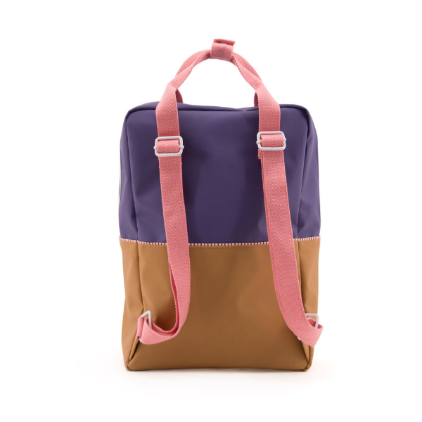 sticky lemons large color block backpack in purple and gold