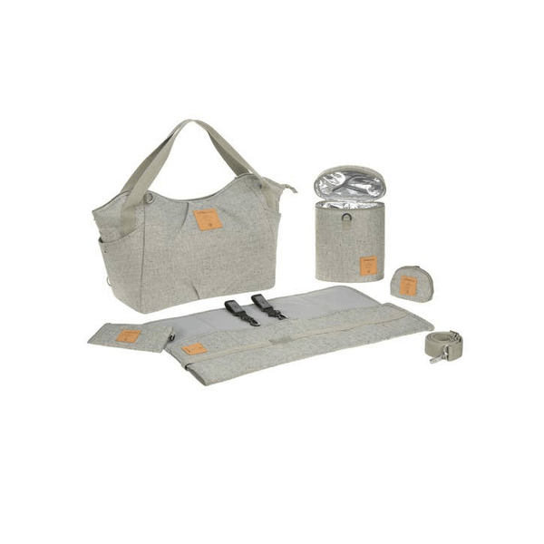 lassig twin bag, light grey with accessories