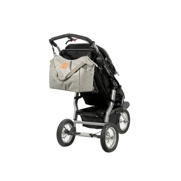 lassig twin bag, light grey with stroller strap