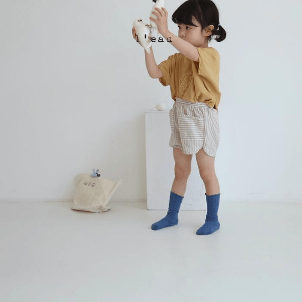 korean bran leau summer shorts beige on toddler girl