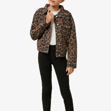 leopard print denim jacket for tween girls