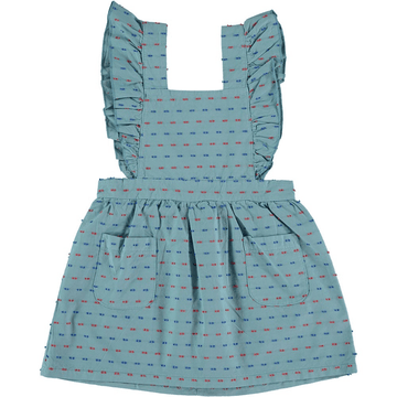 lia ruffle apron dress, green multi dot