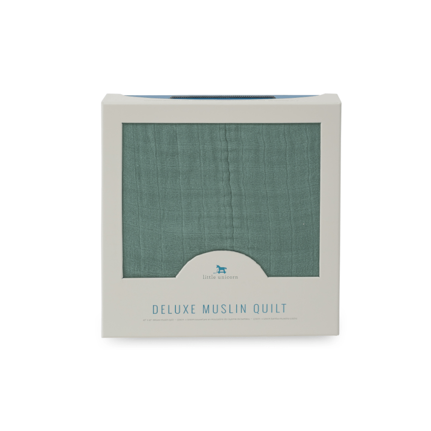 little unicorn deluxe muslin quilt sage gift box