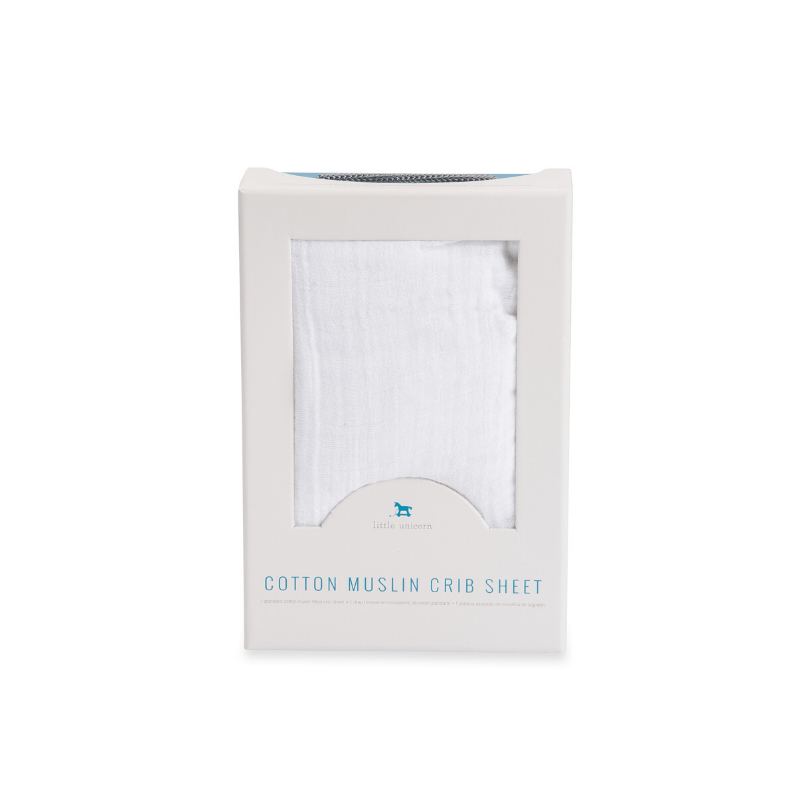 cotton muslin crib sheet, white