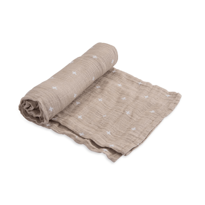 Cotton Muslin Swaddle Blanket, Taupe Cross