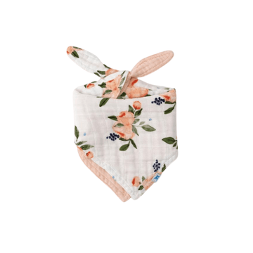 Cotton Muslin Reversible Bandana Bib, Watercolor Roses