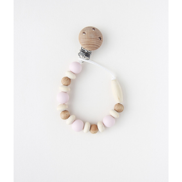 littlechew silicone + wood pacifier clip, pink bee