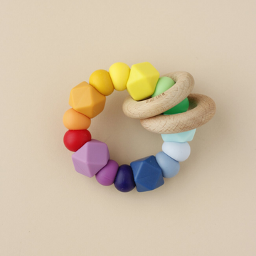 littlechew silicone + wood ring toy in rainbow