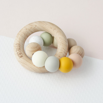 silicone + wood teether toy, melody