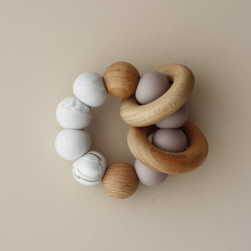 silicone + wood teether toy, dust