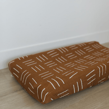 Cotton Muslin Change Pad Cover, Mustard Mud Cloth