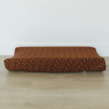 Cotton Muslin Change Pad Cover, Rust Mud Cloth
