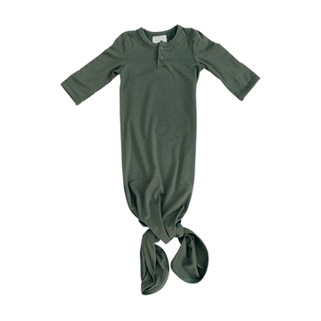 knotted baby gown, olive
