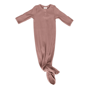 Organic Ribbed Cotton Knotted Baby Gown, Dusty Rose