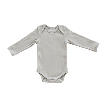 Organic Long-Sleeve Ribbed One-Piece, Oatmeal