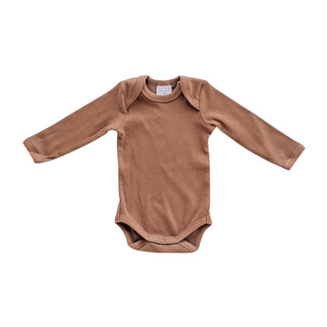 Organic Long-Sleeve Ribbed One-Piece, Rust