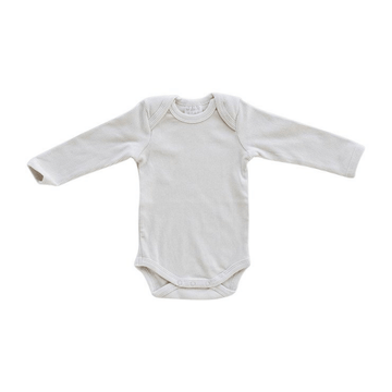 Organic Long-Sleeve Ribbed One-Piece, Vanilla
