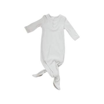Organic Ribbed Cotton Knotted Baby Gown, Vanilla
