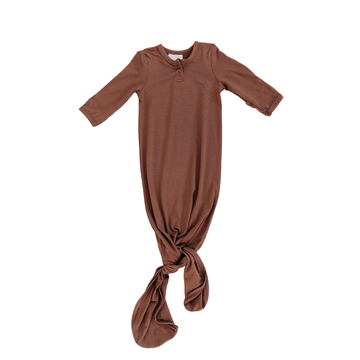 knotted baby gown, rust