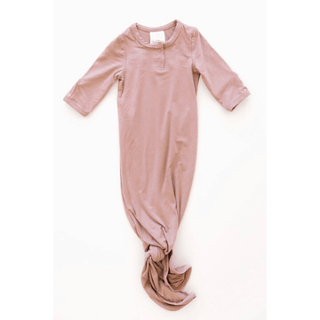 knotted baby gown, dusty rose