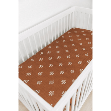 mebie baby cotton muslin chestnut textiles crib sheet