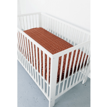 mebie baby cotton muslin crib sheet, rust mud cloth