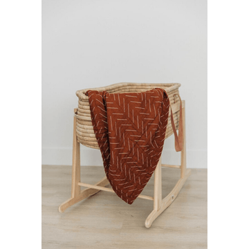 mebie baby cotton muslin quilt, rust mud cloth