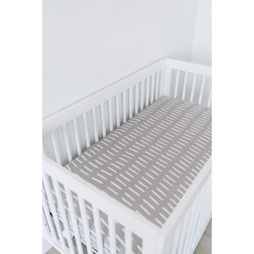mebie baby grey dash crib sheet