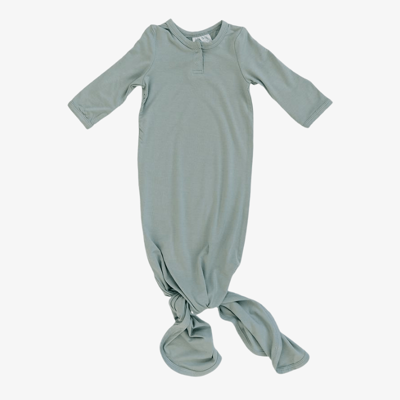 mebie baby newborn and infant knotted gown in sage