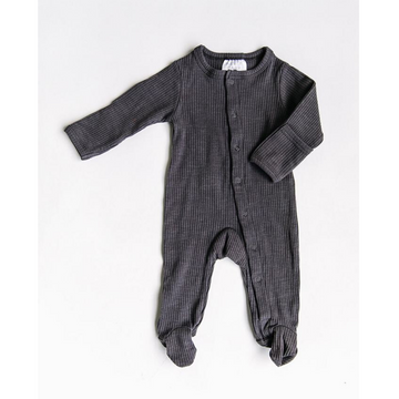 mebie baby ribbed footed one-piece, steel