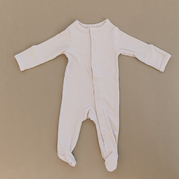 mebie baby vanilla ribbed footed one piece romper with snaps
