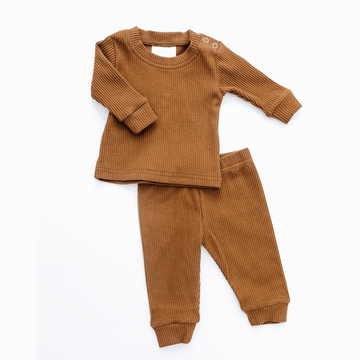 mebie baby ribbed two-piece set, honey