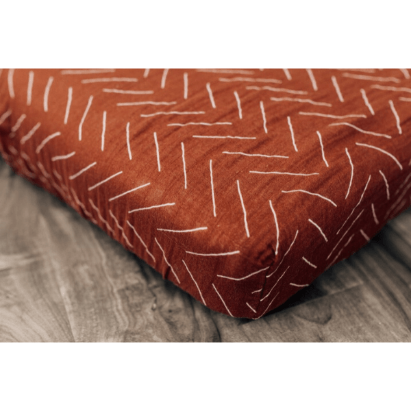 cotton muslin crib sheet, rust mud cloth