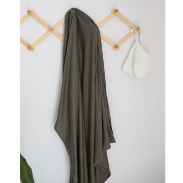 mebie baby stretch swaddle, olive