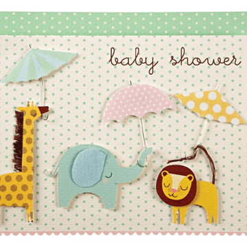 meri meri animals + umbrellas baby shower card