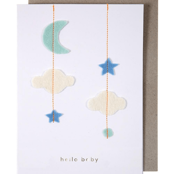 meri meri stitched baby mobile shower card