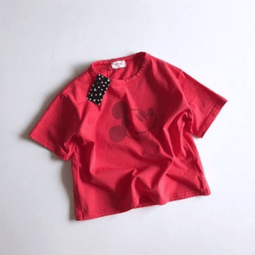 mickey cotton tee in red for toddlers