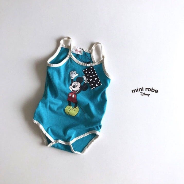 mickey mouse cotton bodysuit in blue for babies